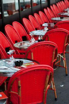 Paris Photo - Red Cafe Chairs in Paris Bistro, Fine Art Photograph, Home Decor Cafe Restaurant, Bakery Cafe, Bakery Decor, Bakery Ideas, Restaurant Tables, Restaurant Design, Parisian Cafe, 233, French Cafe