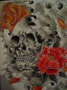 Japanese style skull tattoo art