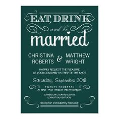 Rustic Typography Emerald Green Wedding Invitation