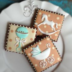Brown & Mint Rocking Horse, Rattle & Pram Baby Cookies