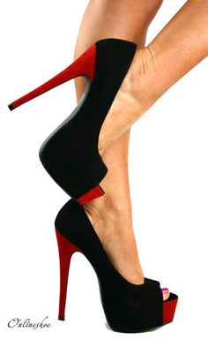 Stiletto platform pumps.