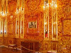 The Amber Room inside the Catherine Palace...