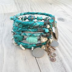 Silk Road Gypsy Bangles, 8 Stack, Turquoise, Bohemian Tribal Bracelets, Silk Wrapped and Beaded on Etsy, $90.00