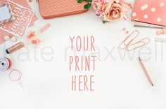 Coral Pink Styled Desktop w/ Garden Roses & Polka Dot / Stock Photography / Product Mockup / Graphic Design Photograph / High Res File #45