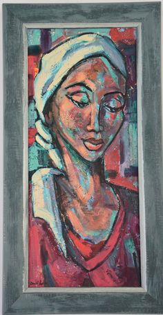 Dante Ruben 'Girl in a Red Dress' oil on board, framed in a washed teal wooden frame with a etched silver inlay. Framed size: x x Available to buy online Ladies Hats, Hats For Women, Dress Painting, Contemporary African Art, Painters, Christmas Gifts, Teal, Decorations, Gift Ideas