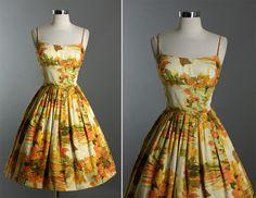 Vintage 50s Elegant Shelf Bust Floral Print Cotton Garden Party Dress | eBay
