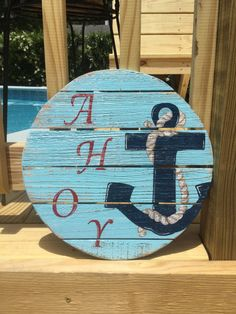 Nautical Anchor Ahoy Pallet Sign Beach and Coastal Decor by justbeachyshop on Etsy Wooden Pallet Crafts, Wooden Diy, Wooden Signs, Wood Crafts, Pallet Projects, Fetco Home Decor, Colonial Home Decor, Home Decor Store, Tropical Home Decor