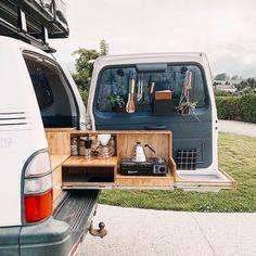 Survival camping tips Camping Kitchen Set Up, Camper Kitchen, Suv Camping, Camping Cooking, Camping Outdoors, Camping Hacks, Minivan Camper Conversion, Car Camper, Road Trip 4x4