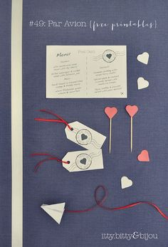 DIY: par avion {free printable} | bloved weddings | Like the simple heart cake toppers and cute mini airplanes