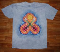 This is a printed version of my Crossed Guitars Design. The original goes for $150.00, because it takes six hours to prepare for dye, but thanks to the water based jet print technique designed by The Mountain Corporation, of Keene New Hampshire, I am able to sell these prints for $25.00    IF YOU ORDER THIS SHIRT, PLEASE SEND ME A NOTE TO INDICATE SIZE   (Choices are M, L, XL, or XXL)      Wholesale inquiries are welcome~