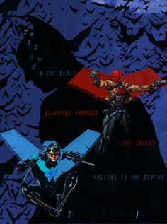 Batman, Red Hood and Nightwing! Words are from Falling inside the Black by Skillet.