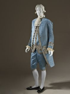 Man's Suit France, circa 1760 Costumes; principal attire (entire body) Silk plain weave (faille), moiré finish, with sequins and metallic-th...