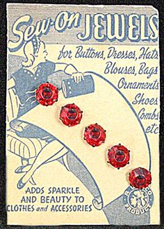 Vintage red glass buttons on card