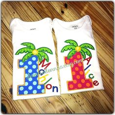 Chicka Boom Birthday Palm tree  number Applique Embroidery Custom Name by AuntieDonnas on Etsy https://www.etsy.com/listing/172833317/chicka-boom-birthday-palm-tree-number