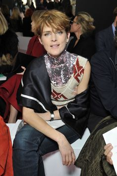 Stella Tennant Front Row at Dior [Photo by Stéphane Feugere]