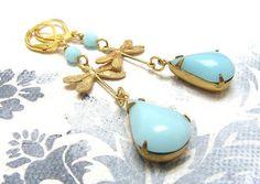 """Ohrhänger - """"Lagoon"""" Vintage Ohrringe - ein Designerstück von Gentle-Breeze bei…"""