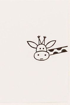 Funny Giraffe peek-a-boo stamp Around the corner by WoodlandTale