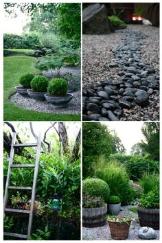 love the different stone separate but used together & the planters used in repetition