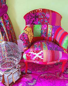 Patchwork, brights, a chair & an empty birdcage, I love all of these things.