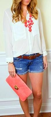 Burst of color with White Blouse
