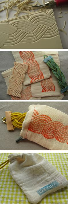 This crafter created a gift bag for a bracelet she made.  She carved a rubber stamp that echoed the bracelet design, stamped the image on muslin, and sewed it into a bag.  Love the bracelet, the stamp, the bag, the  coordinated package, but most of all, her creativity and attention to detail.