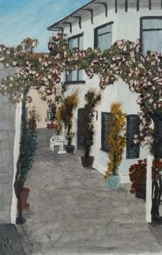 Oil on papewr. Rose arch Nessebar Bulgaria