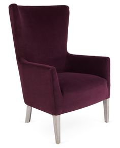 Massoud Furniture Ethan Wingback Chair, Eggplant Velvet, Exclusive to One Kings Lane: This classic wingback chair features deep eggplant-hued upholstery for a fresh and fun twist. Handcrafted in the USA. Furniture Layout, Furniture Arrangement, Velvet Wingback Chair, Wingback Chairs, Living Room Chairs, Living Room Furniture, Washed Linen Duvet Cover, Armchairs And Accent Chairs, Luxury Chairs