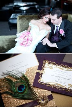 purple, gold and peacock wedding invitations Wedding Pics, Wedding Bells, Wedding Engagement, Wedding Styles, Our Wedding, Dream Wedding, Gatsby Wedding, Wedding Dreams, Future Mrs
