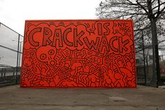 """Artist Keith Haring (1958-1990) painted the now-famous Crack Is Wack mural in 1986…The mural, done in Haring's signature style of thick black outlines, bright colors and intermingling, cartoon-like bodies, was painted to send a serious anti-drug message to the community...The mural can be found at the Crack is Wack Playground in Harlem.This our our 11th installment of ""Art as Social Movement Throughout History"".   To see all posts: http://blog.fokus.org/tagged/artchangingminds"