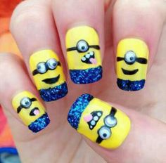 Im obsessed with the minions in Despicable Me 1/2, AND THESE NAILS ARE PERFECT! Plus it's something you can do on your own