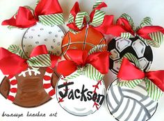 Sports Christmas Ornaments  Bronwyn Hanahan by BronwynHanahanArt, $18.00