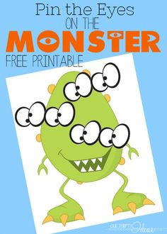 Free printable download. Pin the eyes on the monster. Perfect for a birthday party or for a Halloween Party: