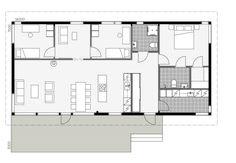 Glass House Design, Modern Garden Furniture, Cheap Houses, Modern House Plans, House In The Woods, Log Homes, Modern Design, Floor Plans, How To Plan