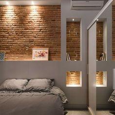 Duvarlarınızı Güzelleştirecek Niş Modelleri-50 Adet   Evde Mimar Black Brick Wallpaper, Brick Wallpaper Bedroom, Brick Wall Bedroom, Small Room Bedroom, Home Decor Bedroom, Modern Bedroom, Gray Bedroom, Bedroom Ideas, Exposed Brick Walls