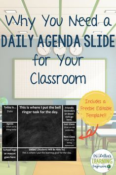 Classroom Management: Why you need a daily agenda slide for your classroom-Includes a Free Editable Template. Middle School Classroom, English Classroom, Middle School Science, Beginning Of School, Middle School Procedures, 7th Grade Classroom, Elementary Science Classroom, Teaching 6th Grade, 8th Grade Ela