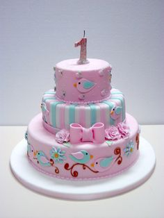 Pretty Cakes, Cute Cakes, Beautiful Cakes, 1st Birthday Cake For Girls, Baby Birthday Cakes, Fondant Cakes, Cupcake Cakes, Bolo Fack, Cupcakes Decorados