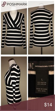 INC INTERNATIONAL CONCEPTS Sweater NWOT Figure flattering black & creamy white knit sweater.  75% Rayon and 25% Nylon makes for a soft, stretchable piece. Size is Large but could easily fit a Medium. 🌸 INC International Concepts Sweaters V-Necks