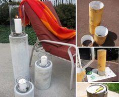Садовые подсвечники из бетона
