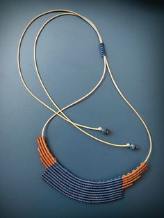 Macrame necklace, geometric, brown and blue