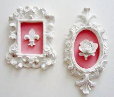 Conj Quadros Flor de Liz - Rosa Antigo