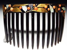 【桃】アンティーク髪飾り:本鼈甲本珊瑚貝金象嵌大きな櫛 /