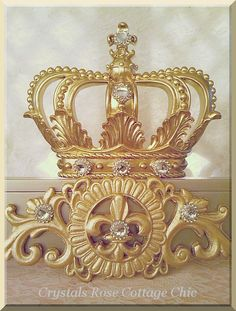 Champagne and Gold Fleur de Lis Bed Crown by sweetlilboutique