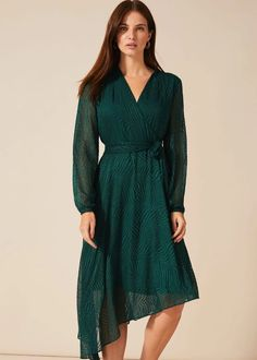 Buy Phase Eight Green Jenifer Clipped Jacquard Dress from the Next UK online shop Nice Dresses, Casual Dresses, Dresses For Work, Dresses With Sleeves, Phase Eight Dresses, Green Dress Casual, Dress Shapes, Jacquard Dress, Belted Dress