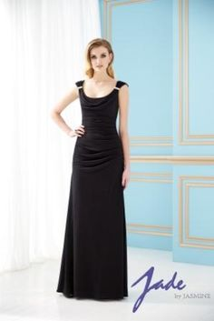 Style:  J155060.  Jasmine Jade Mothers Dresses, Fall 2013. Floor length Matte Jersey gown with scoop neckline shown in Black. Skirt length can be changed to tea-length or knee-length.