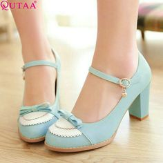 QUTAA Fashion Ladies Pu Leather Platform Women Pumps Dress Shoes Sexy High Heel Shoes Women's Wedding Shoes Size 34-45