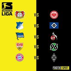 Today's BUNDESLIGA fixtures.  #leverkusen #Frankfurt #hoffenheim #hamburger #Berlin #stuttgart #BayernMunich #borussia #TSGHSV