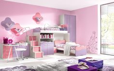 This is Kids Girls Double Beds Room Design Idea Item of Girls Bedroom Interior Design. Modern Outstanding girls room design ideas around the world. Teenage Girl Bedroom Designs, Modern Kids Bedroom, Pink Bedroom For Girls, Girls Room Design, Pink Bedrooms, Small Room Design, Kids Bedroom Furniture, Bedroom Ideas, Design Bedroom