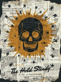 The Hold Steady Concert Poster Retro Typography, Graphic Design Typography, Festival Posters, Concert Posters, Music Posters, Old School Skateboards, Music Flyer, Skeleton Art, Rock Posters