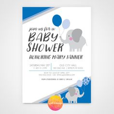 The perfect baby shower invitation for someone who is keeping the gender of her baby a surprise or knows what they are having! This cute elephant themed baby shower invitation is ideal for any shower.