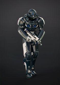 Space cyborg suit modeled in ZBrush, rendered in KeyShot by Dmitriy Rabochiy.